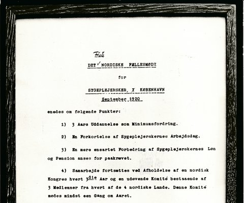 ▲ The framed document on SSN's foundation and working basis was signed in September 1920 - the Finnish organizations' President Sophie Mannerheim did not attend the meeting.