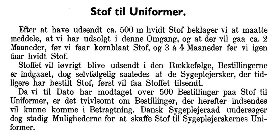 Notits i Tidsskrift for Sygepleje om uniformssituationen.