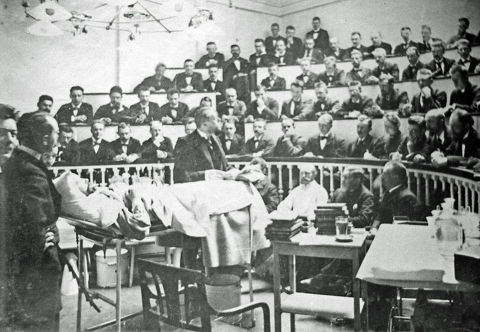 Operationsstuen på Frederiks Hospital omkring 1900