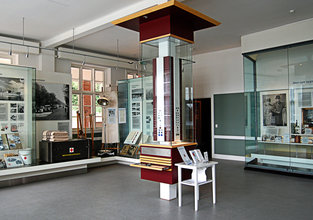 Danish Museum of Nursing History. Exhibition room showing among other things Danish Nursing pins.